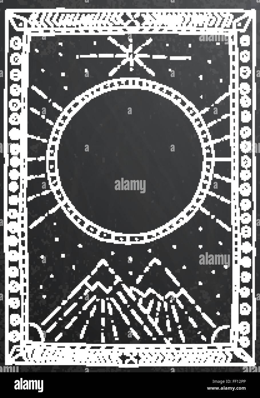 Hand-gezeichneten Umriss weißen Rahmen auf schwarze Kreide an Bord ...