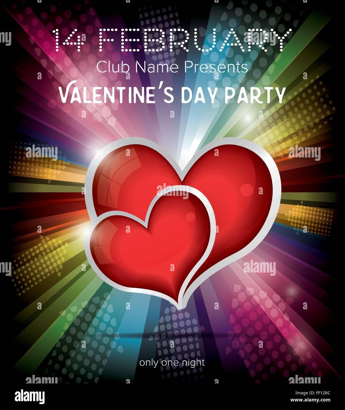 Happy Valentines Day Party Flyer Design Vorlage Auf Regenbogen Hintergrund Vektor Illustration Club Konzept