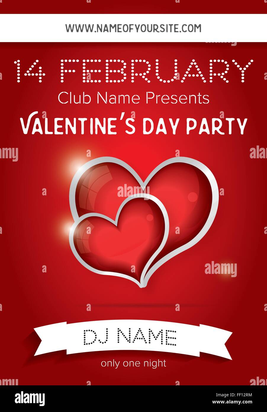 Happy Valentines Day Party Flyer Design-Vorlage. Vektor-Illustration ...