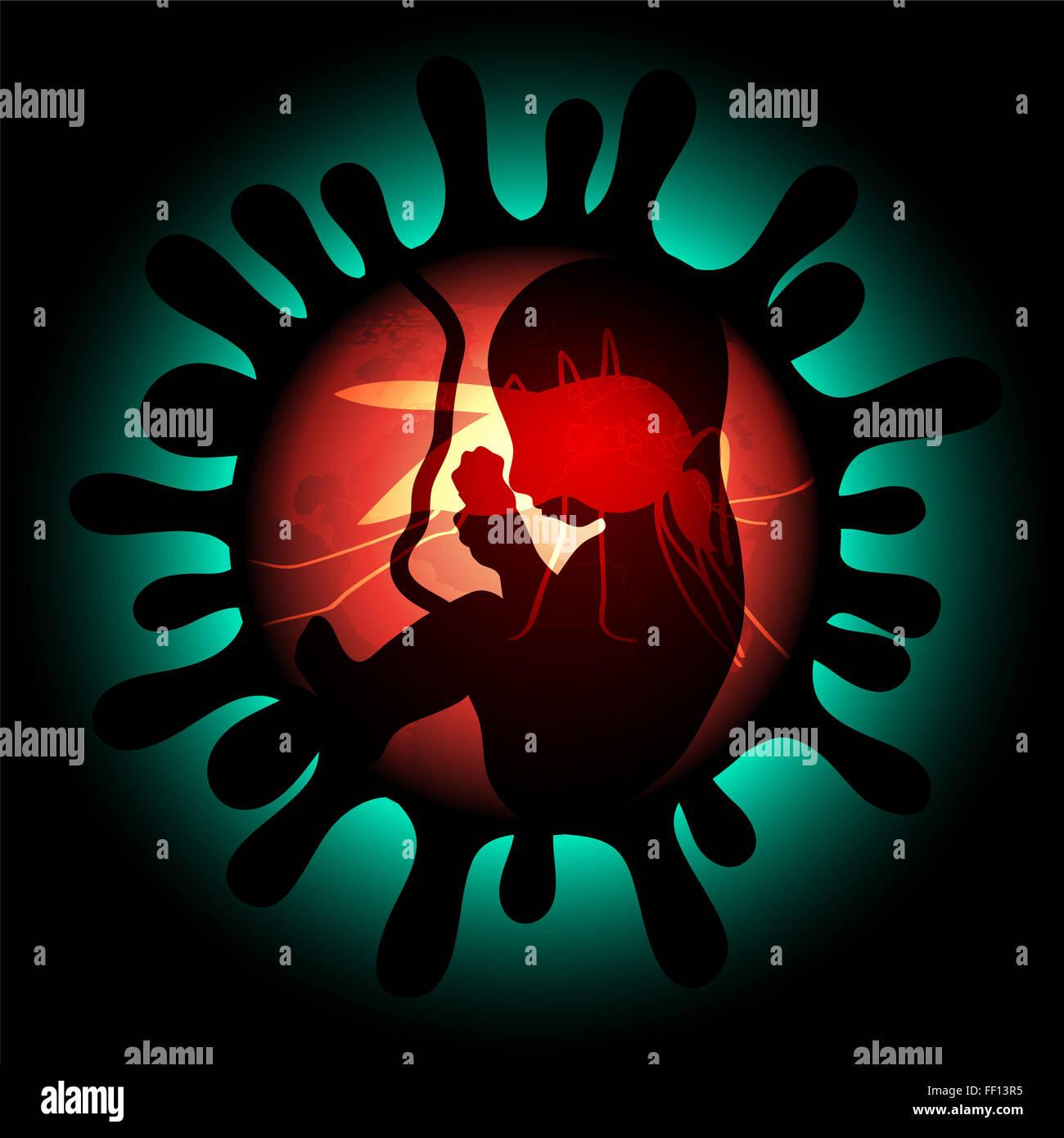 Zika Virus-Infektion und Schwangerschaft Illustration mit Embryo und Mücken Stockbild