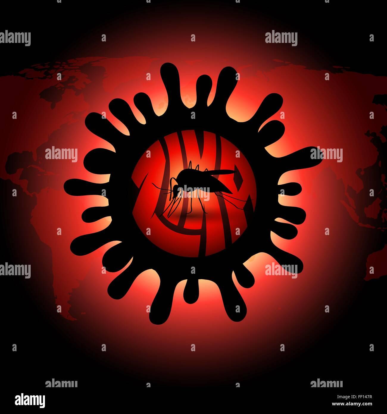 infizierten Mücke Vektor Icon in realistischen Design - Stop Zika-virus Stockbild
