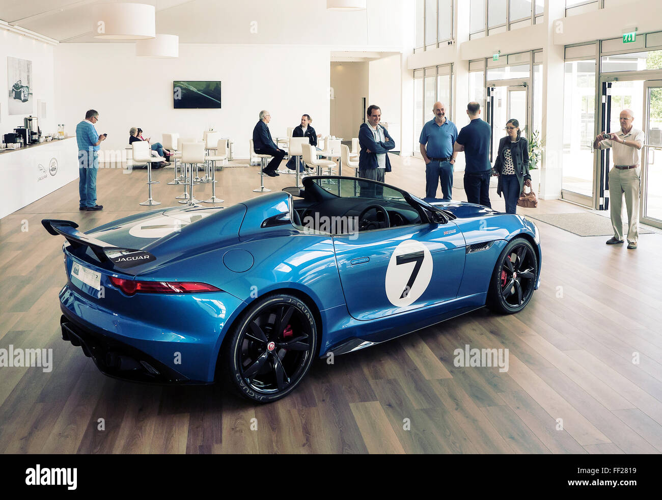 Jaguar Heritage Erfahrung. Jaguar-Projekt 7 auf dem Display in HQ Fen Ende Einfahr-und Prüfstrecke Stockbild