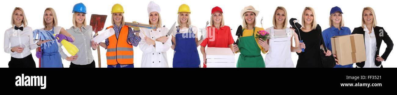 Gruppe Arbeitnehmer Berufe Frauen Beruf Karriere als Geschäftsmann isoliert auf weißem Hintergrund Stockbild