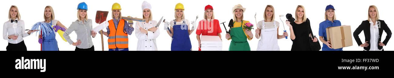Gruppe Arbeitnehmer Berufe Frauen Porträt Beruf Karriere als Geschäftsmann isoliert auf weißem Hintergrund Stockbild