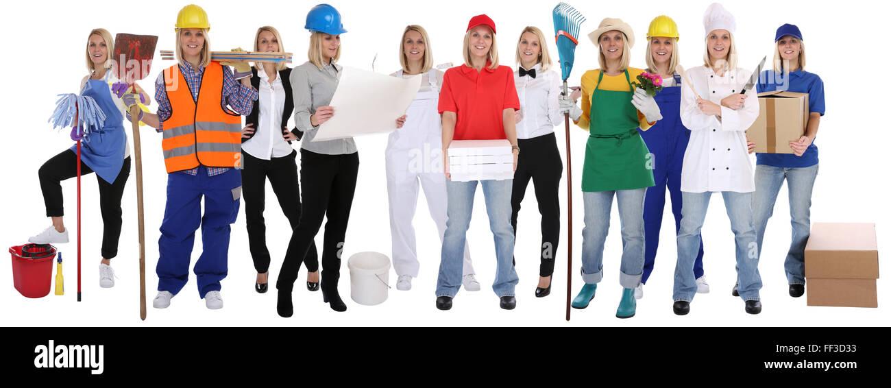 Gruppe von Arbeitnehmern Berufe Frauen Profis stehen Beruf Karriere isoliert auf weißem Hintergrund Stockbild