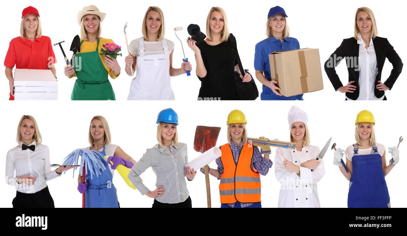 Gruppe von Arbeitnehmern Berufe Frauen Porträt Porträts Wirtschaftskarriere isoliert auf weißem Hintergrund Stockbild