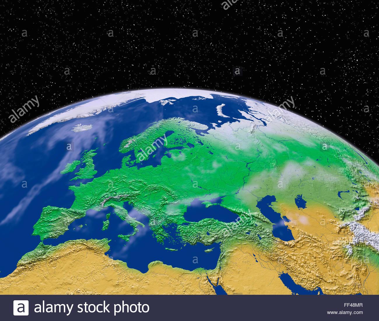 Satelliten-Ansicht eines Teils der Erde aus dem Raum Europa Kontinent der Welt Karte Raum Planet Globus Terrain Stockfoto