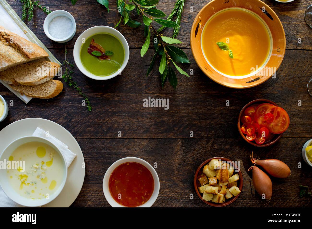 Tabletop Nahrung von oben mit Platz für Kopie Stockbild