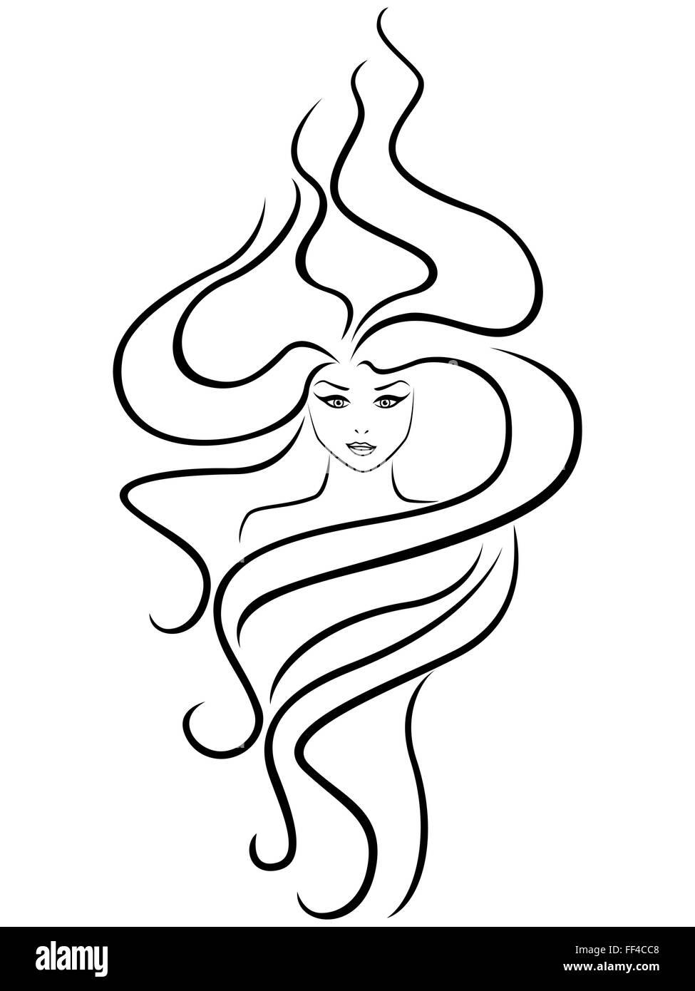 Frauenkopf Mit Aussergewohnlichen Frisur Zu Abstrahieren Von Hand