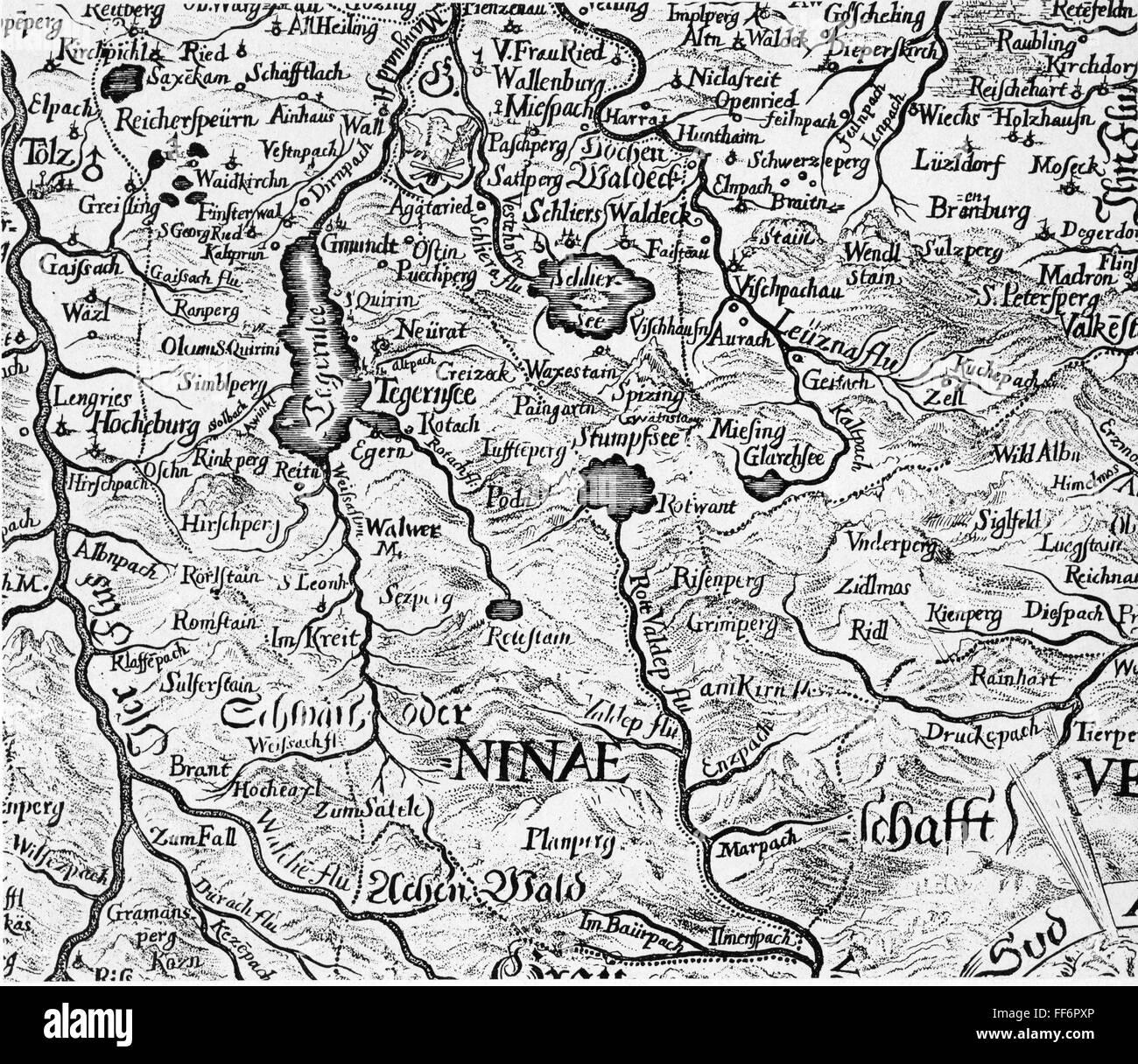 Karte Oberbayern.Kartographie Map Deutschland Im Bayerischen Oberland Kupferstich