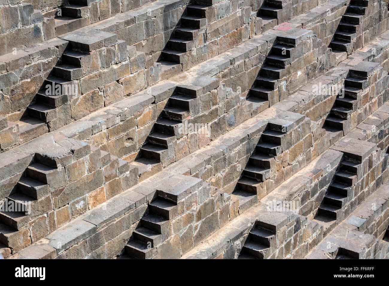Chand Baori Stufenbrunnen, Abhaneri, Dausa, Rajasthan, Indien Stockbild