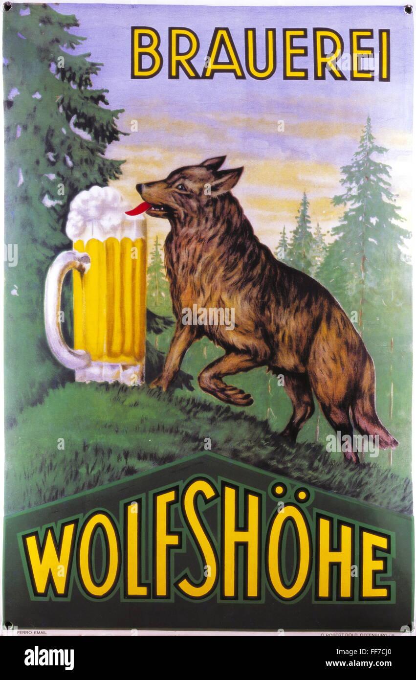 Werbung, Getränke, Bier, Emaille Werbeschild, Brauerei Wolfshoehe ...