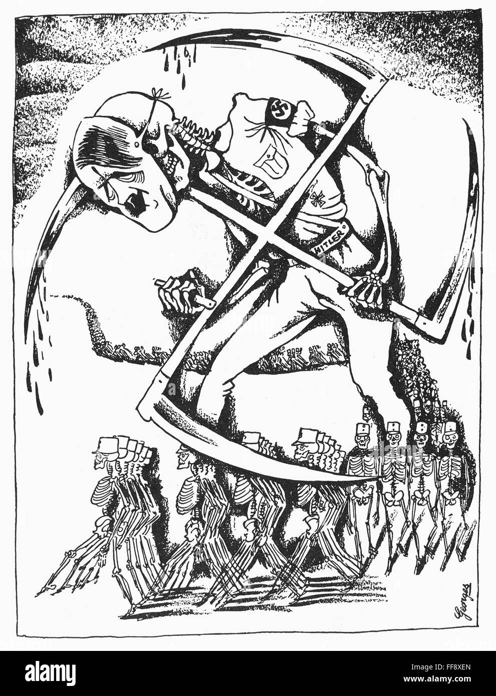 HITLER-Karikatur, c1940. /nFrench Cartoon, c1940