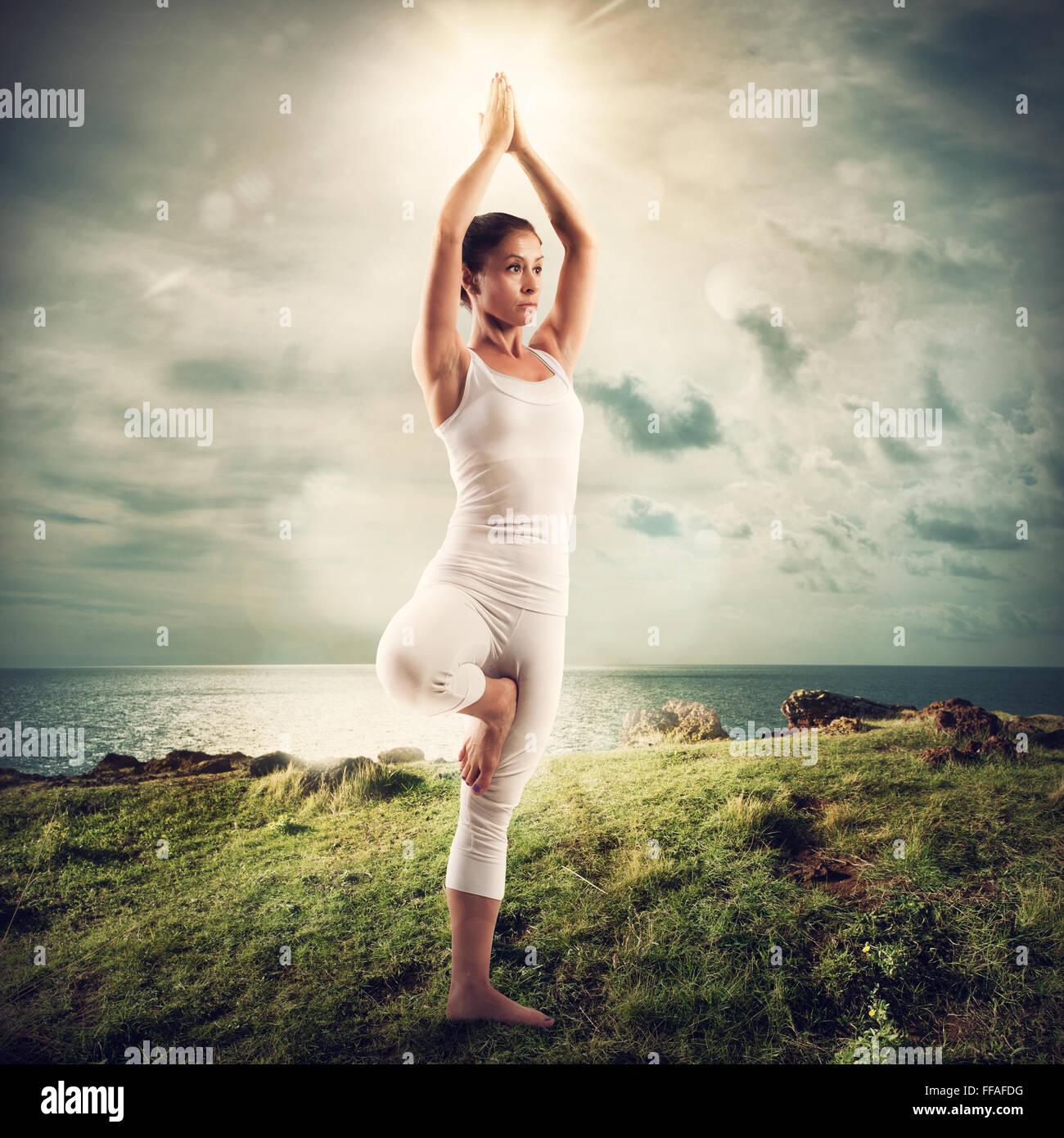 Yoga in einer Naturlandschaft Stockbild