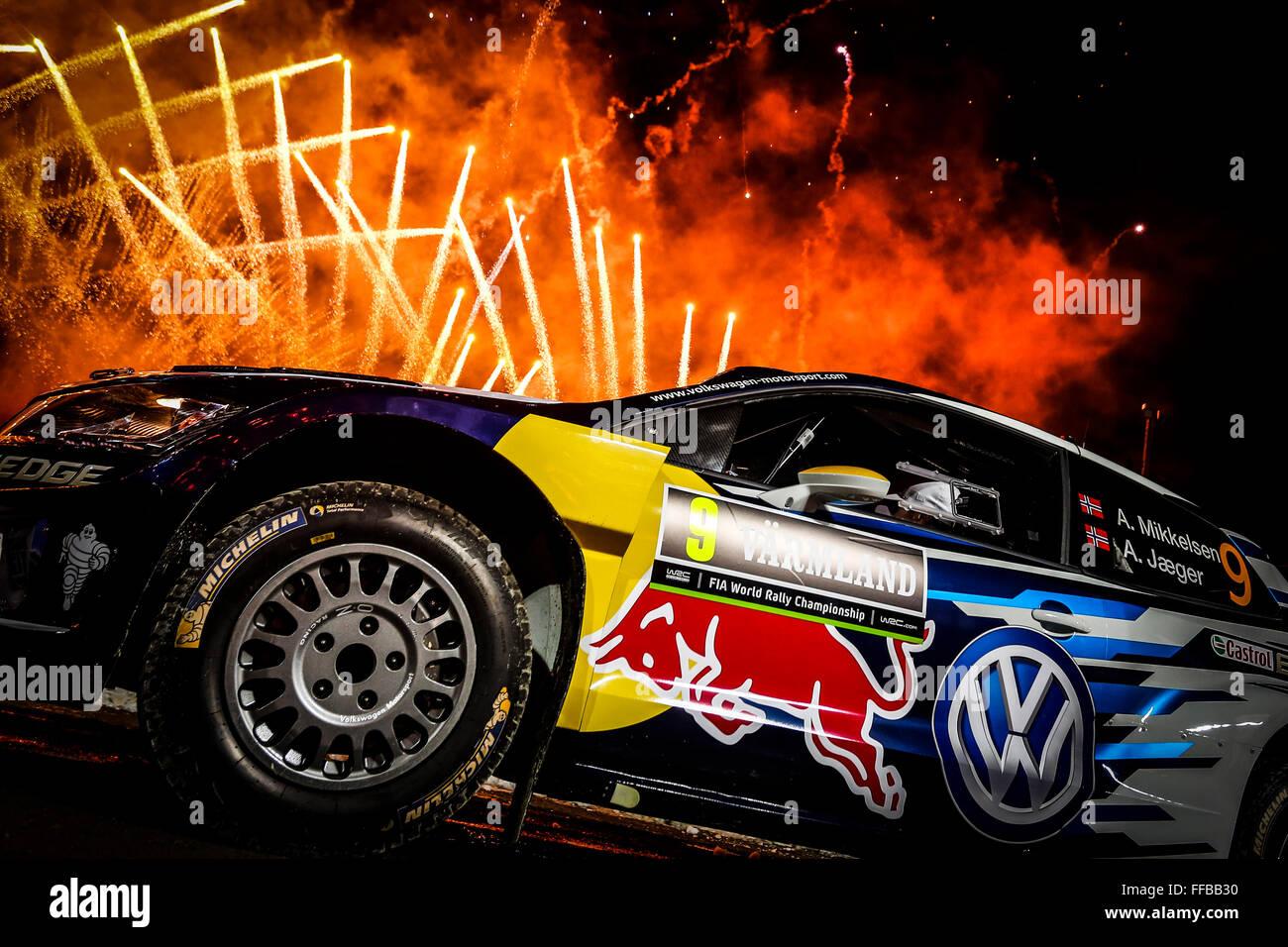 Karlstad, Schweden. 11. Februar 2016. WRC Rallye Schweden. En Tag für Fahrer und Fahrzeuge in Karlstad. Andreas Stockbild