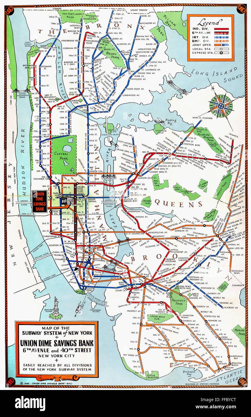 U Bahn Karte New York.New York U Bahn Karte 1940 Nmap Der U Bahn Von New York City