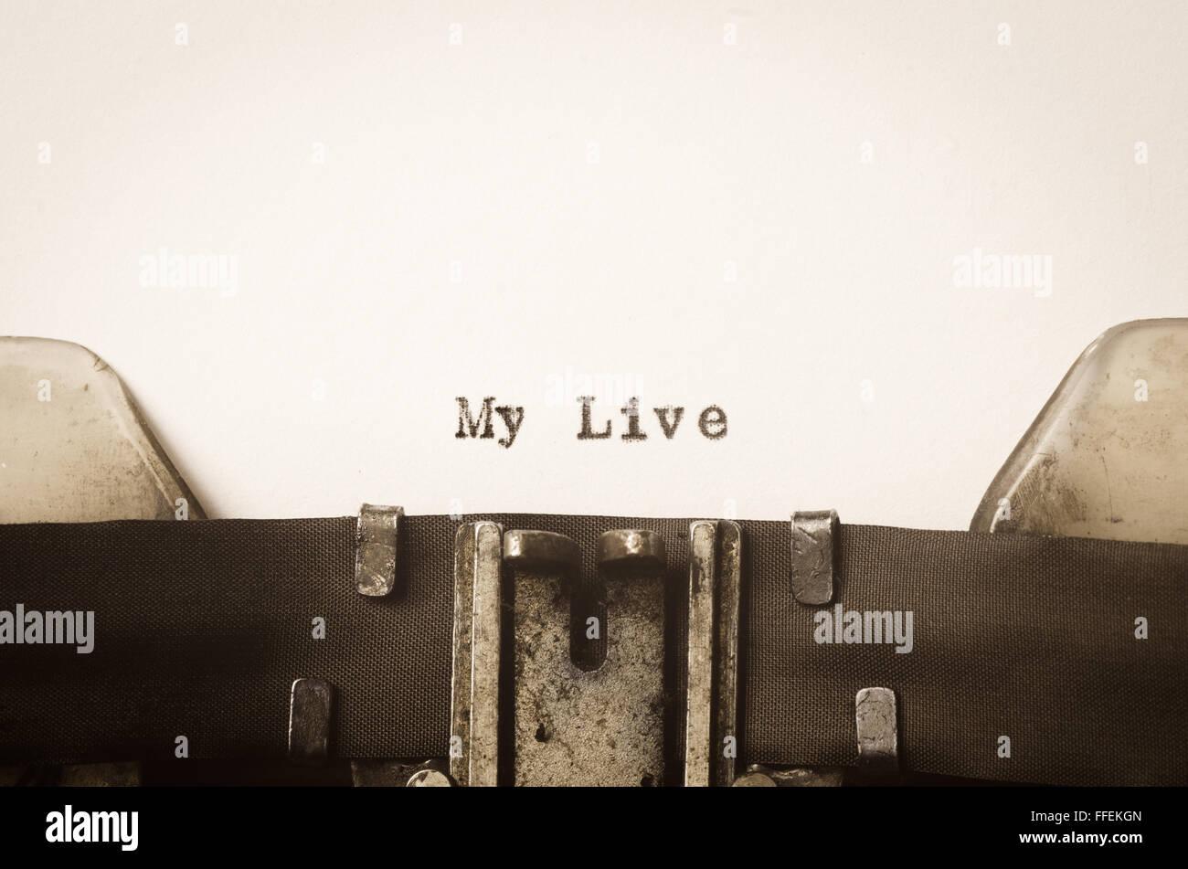 mein Leben auf alten Schreibmaschine geschrieben Wörter Stockfoto