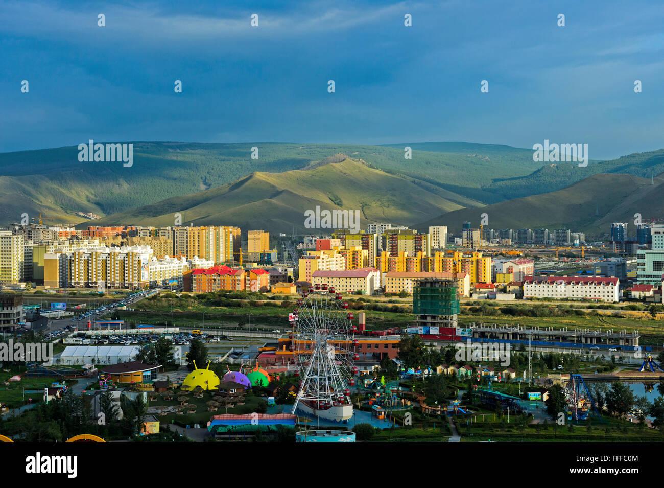 National-Vergnügungspark gebaut hinter modernen neu Bezirk, Ulan Bator, Mongolei Stockbild