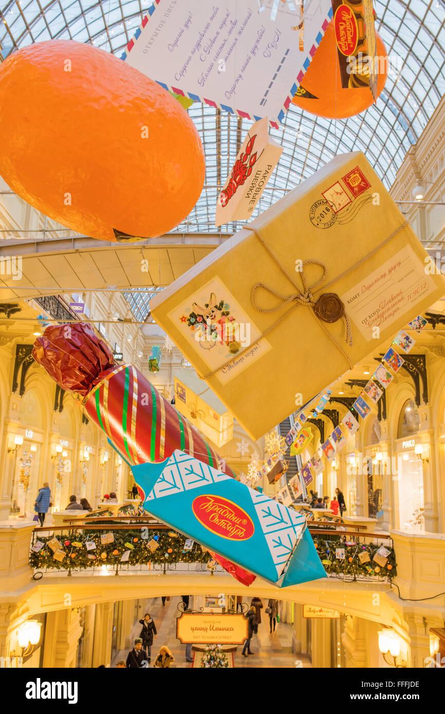 GUM-Interieur, Dekoration und Beleuchtung für Weihnachten und Neujahr Urlaub, Moskau, Russland Stockfoto