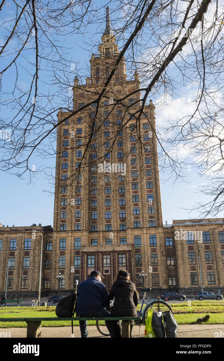 Akademie der Wissenschaften sowjetischen Gebäude. Latgale Bezirk, Riga, Lavia Stockbild