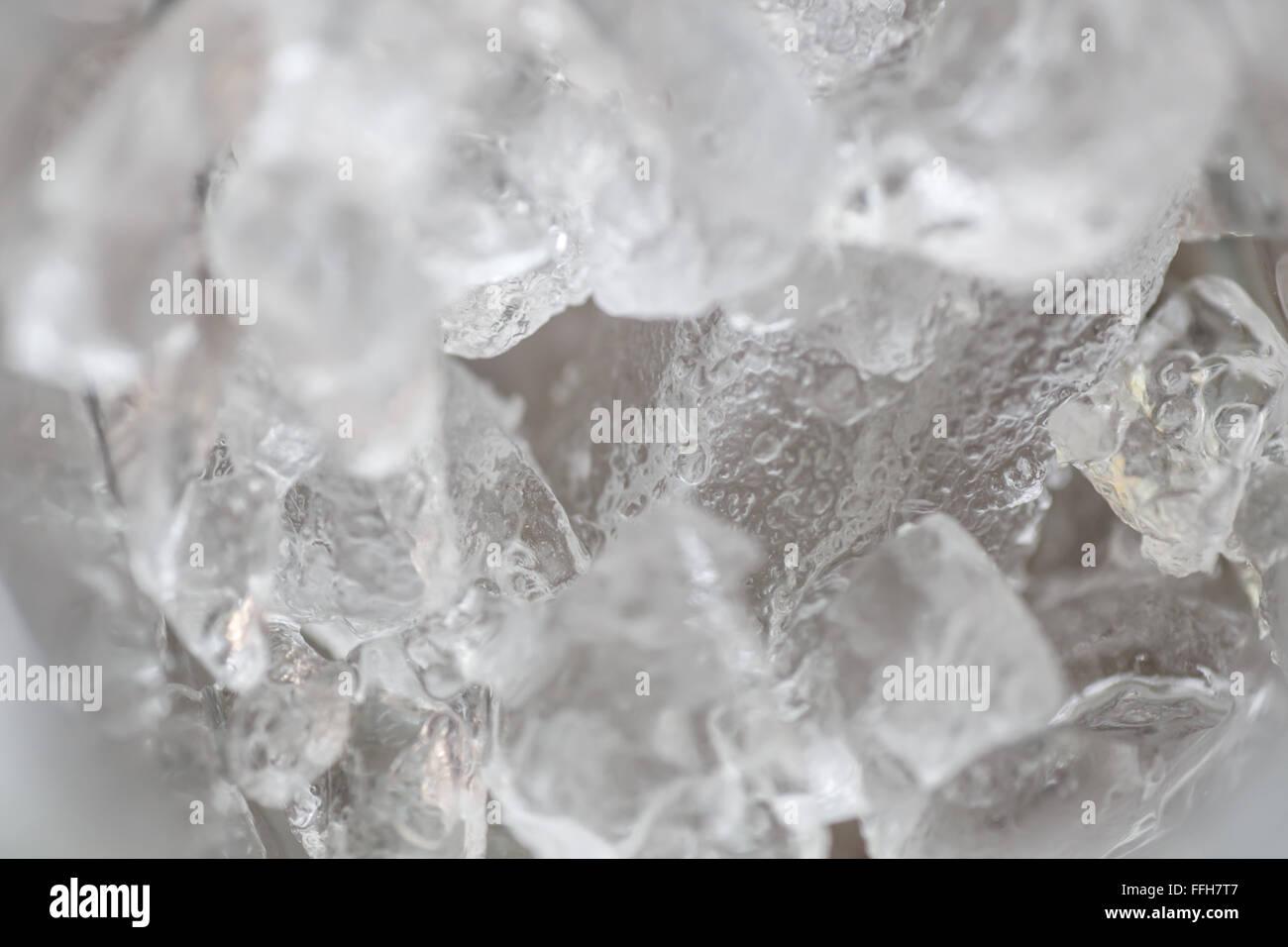 Eis auf Glas, detaillierte Fotografie von innen Stockbild