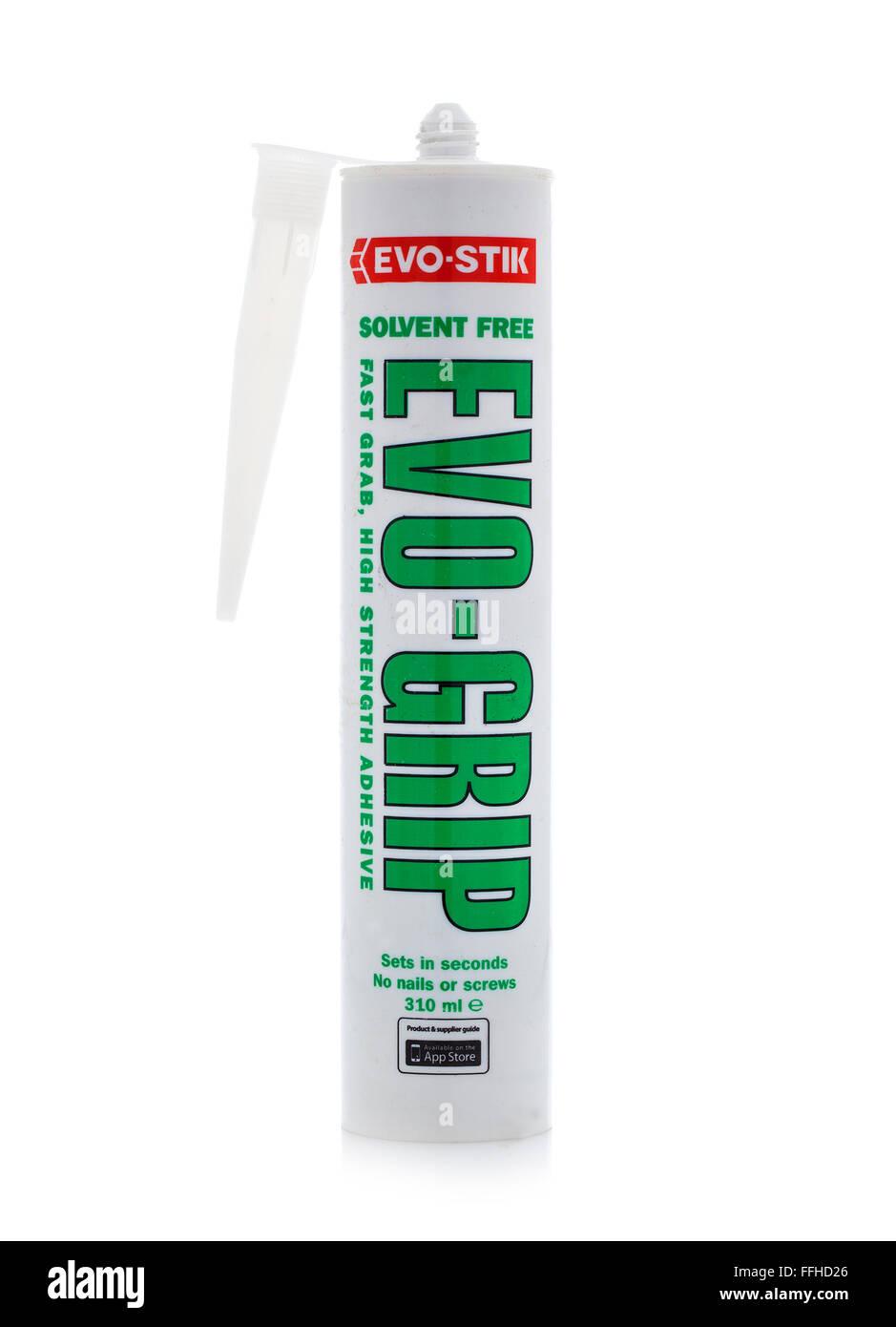 Rohr der Evo-Grip lösemittelfrei greifen Klebstoff machen von Evo Stik auf weißem Hintergrund Stockbild
