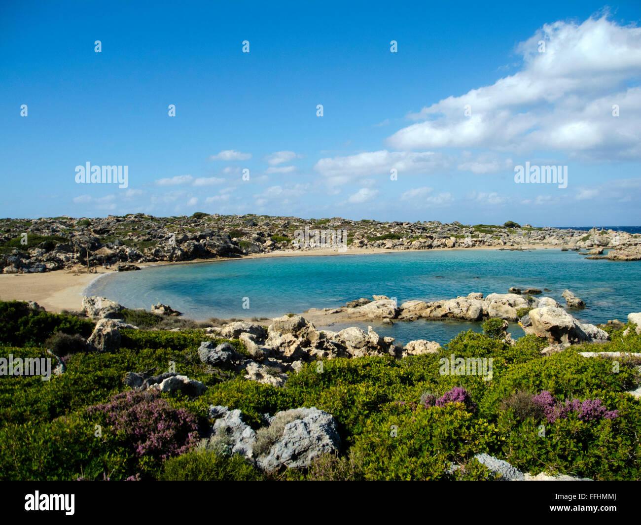 Griechenland, Kreta, Westküste, Hrissoskalitissa Nördlich von Elafonissi, Aspri Limni Stockbild