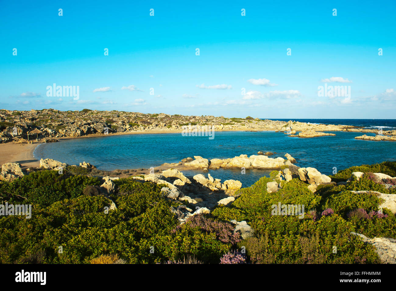 Griechenland, Kreta, Westküste, Hrissoskalitissa Nördlich von Elafonissi, Aspro Limni Stockbild