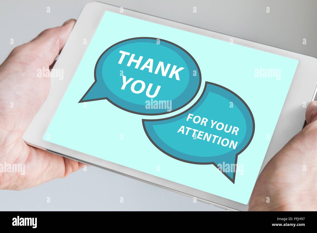 Vielen dank f r ihre aufmerksamkeit konzept mit hand moderne touch screen ger t wie tablet als for Aufmerksamkeit englisch
