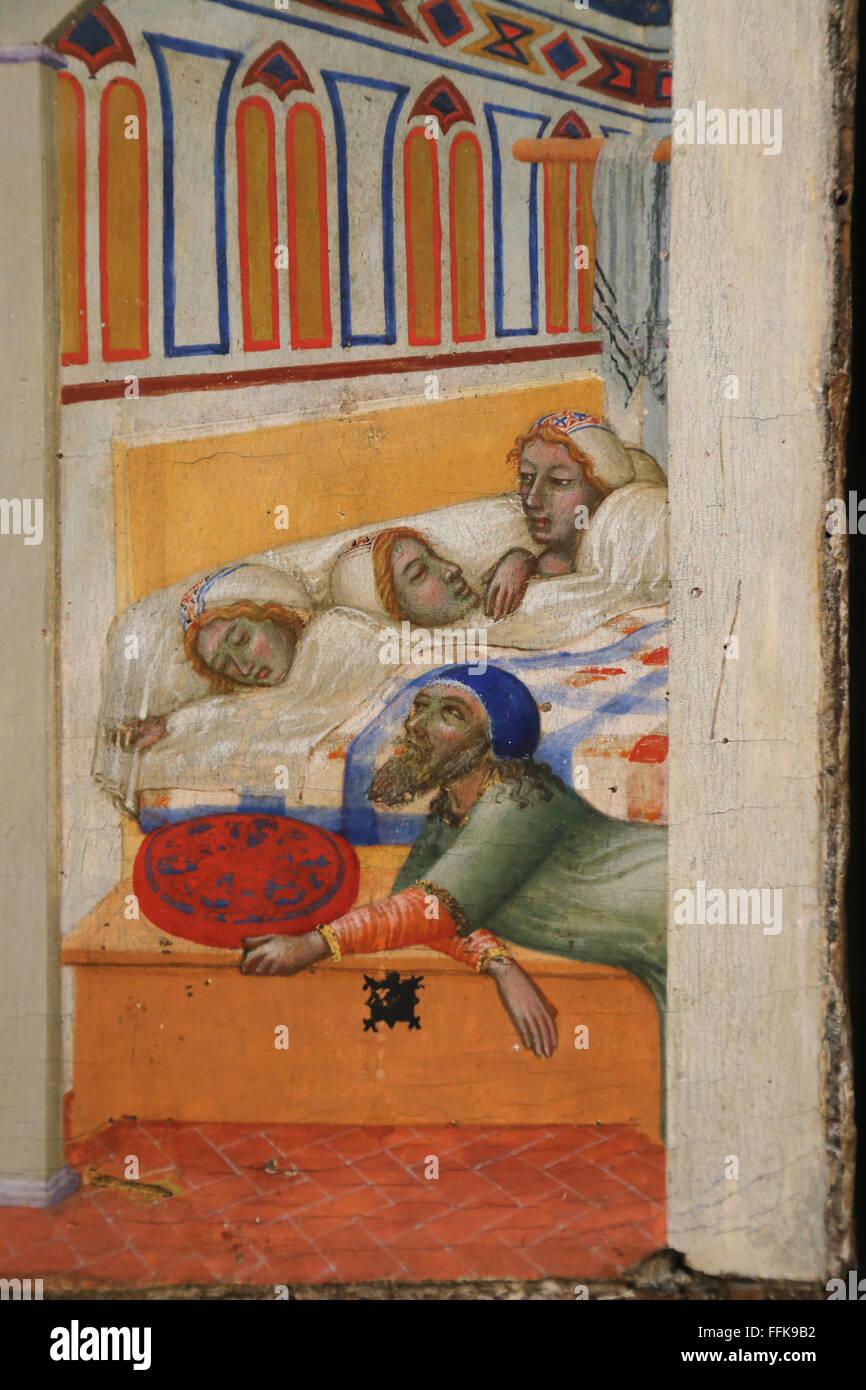 Die Nächstenliebe der St. Nikolaus von Bari (5. Jahrhundert) von Ambrogio Lorenzetti (1285-1348). Louvre-Museum. Stockbild