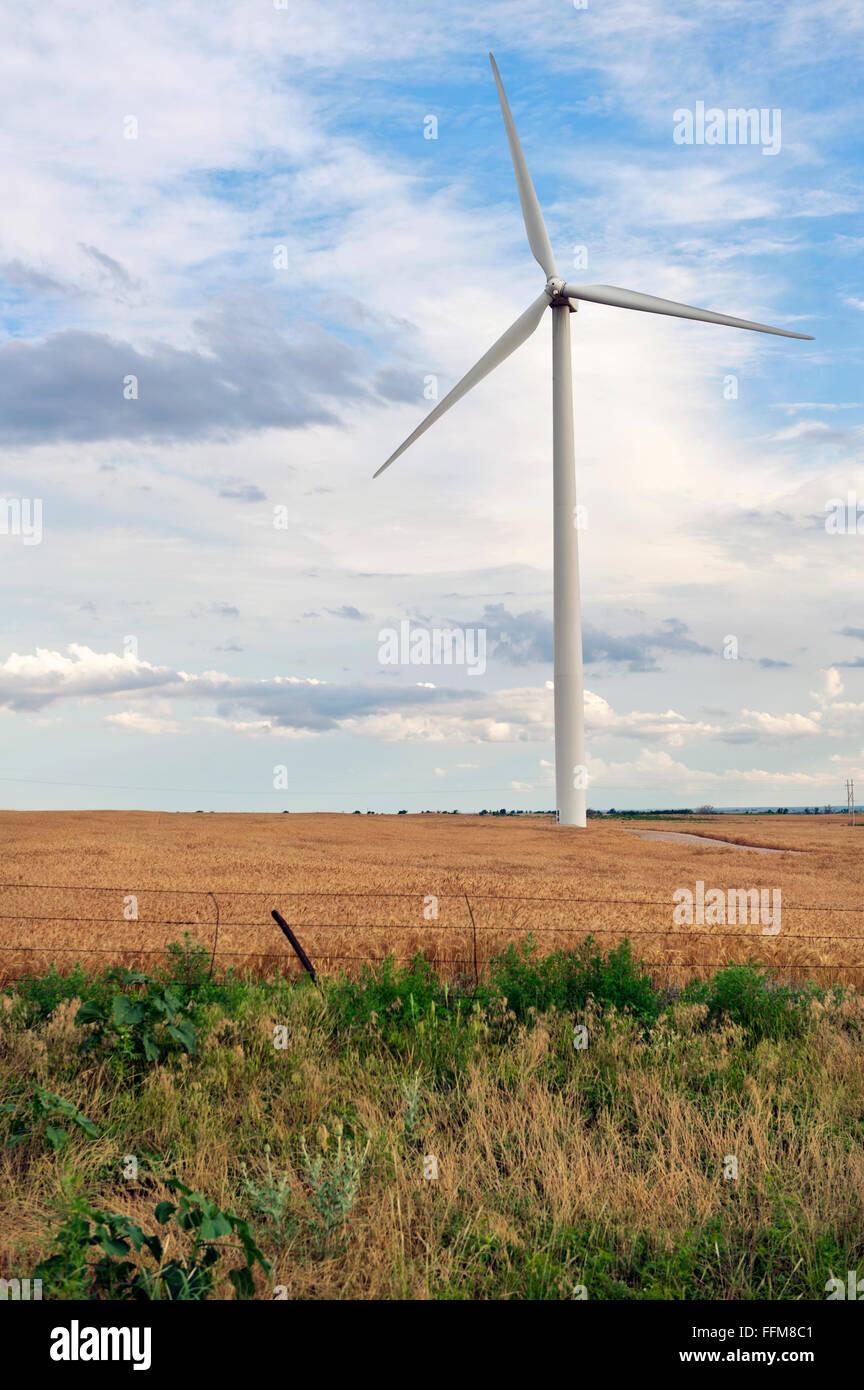 Windkraftanlagen, Windmühle, Wind betriebene Stromerzeuger in den mittleren Westen der USA Stockbild
