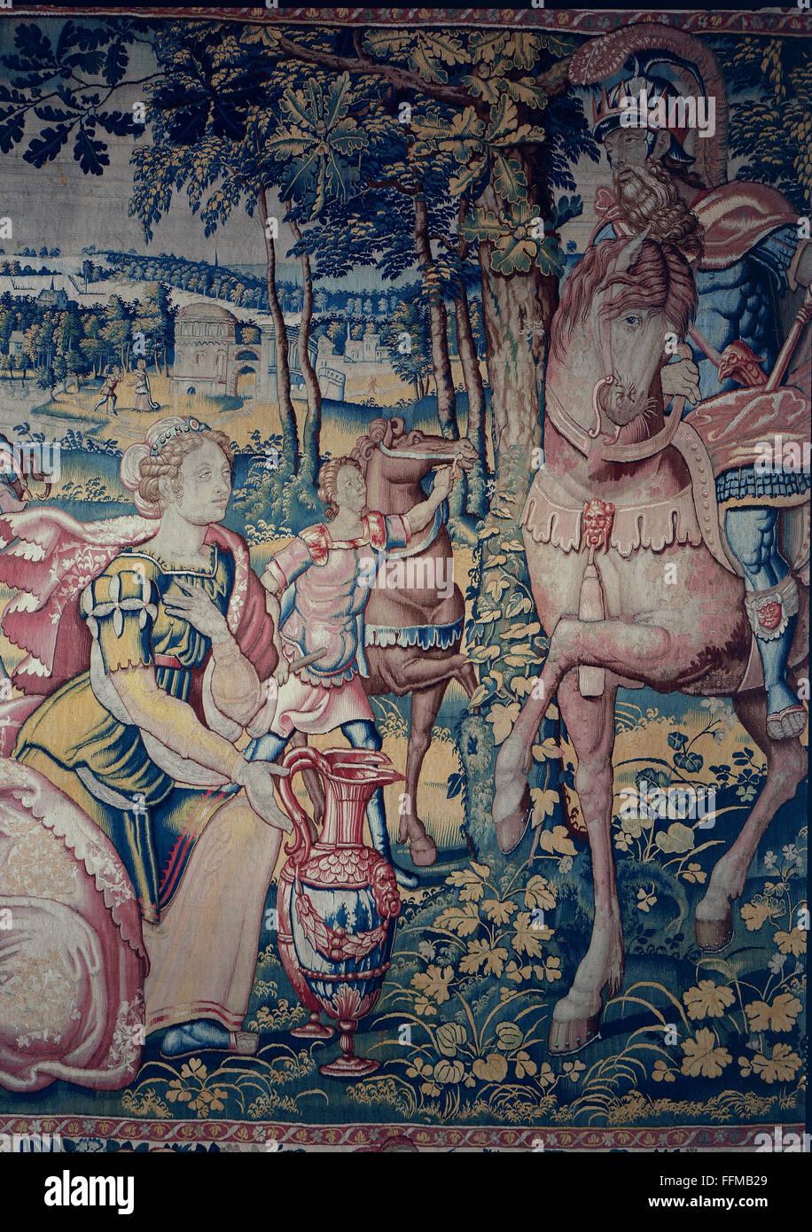 Abigail vor König David, Tapisserie, 16. Jahrhundert Stockbild