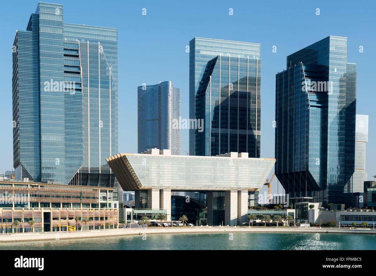Ansicht des neuen Geschäftsviertels in Abu Dhabi globalen Marktplatz (ADGM) auf Al Maryah Island in Abu Dhabi Stockbild