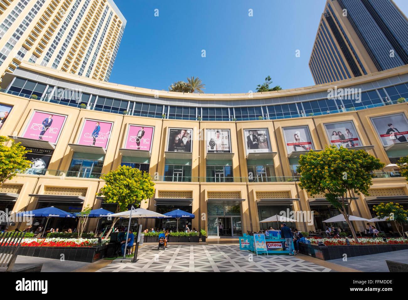 Blick auf die Marina Mall in Dubai, Vereinigte Arabische Emirate Stockbild