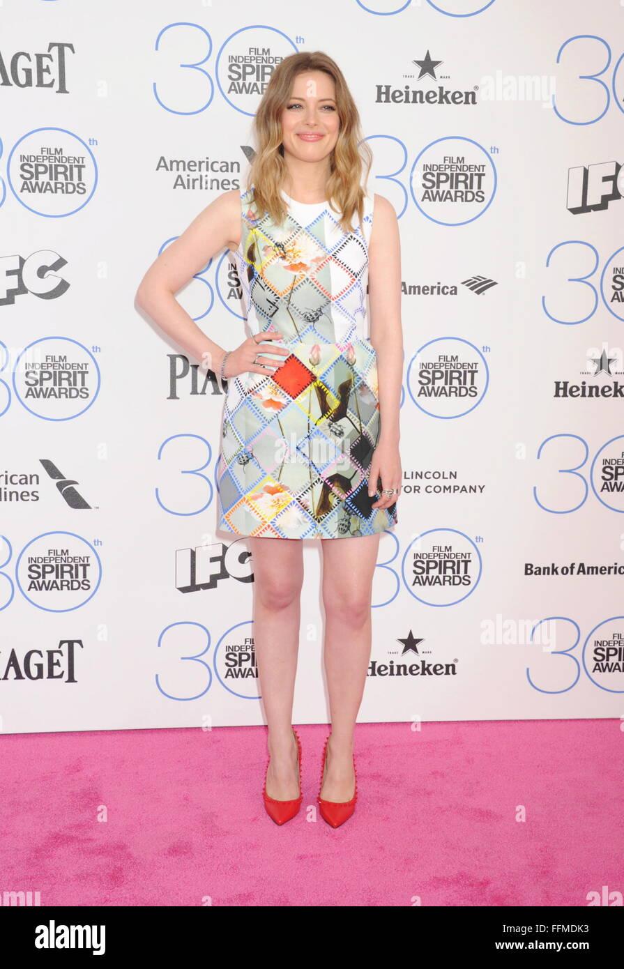 Schauspielerin Gillian Jacobs kommt an der 2015 Film Independent Spirit Awards am 21. Februar 2015 in Santa Monica, Stockbild