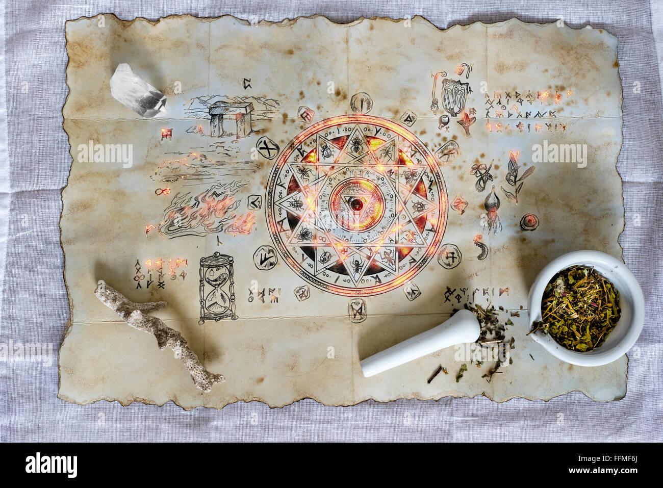 Zauberspruch aussenden eine geheimnisvolle Aura verzaubert Stockbild