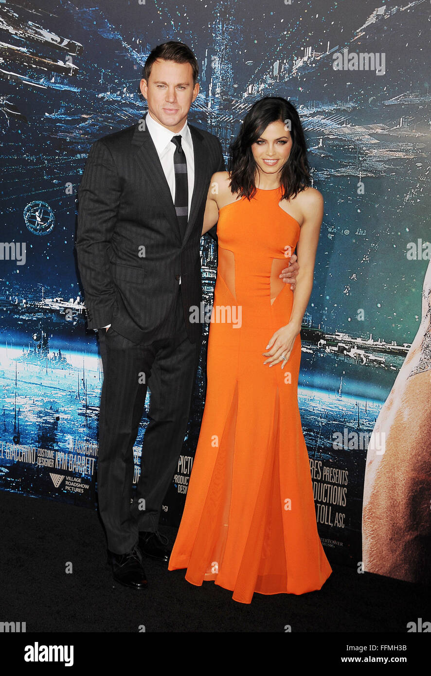 """Schauspieler Channing Tatum und Jenna Dewan kommen an der """"Jupiter Aufsteigend' Los Angeles Premiere auf Stockbild"""