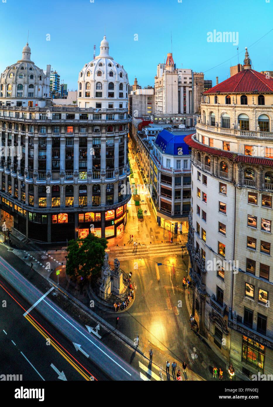 Luftaufnahme der Calle Florida (Fußgänger). Buenos Aires, Argentinien, Südamerika Stockbild