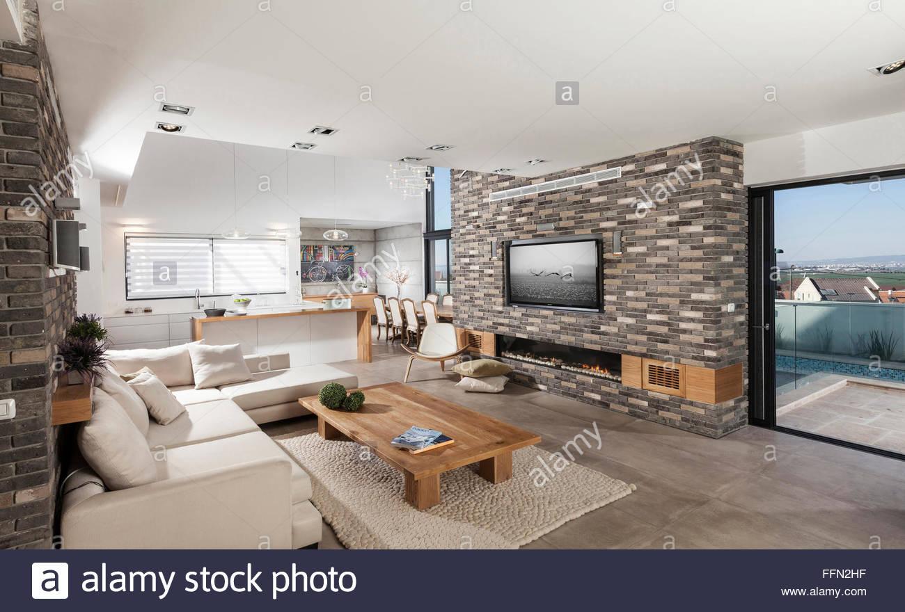 Moderne Villa in Gan Ner, Israel. Offenen Raum, mit einer kleinen ...