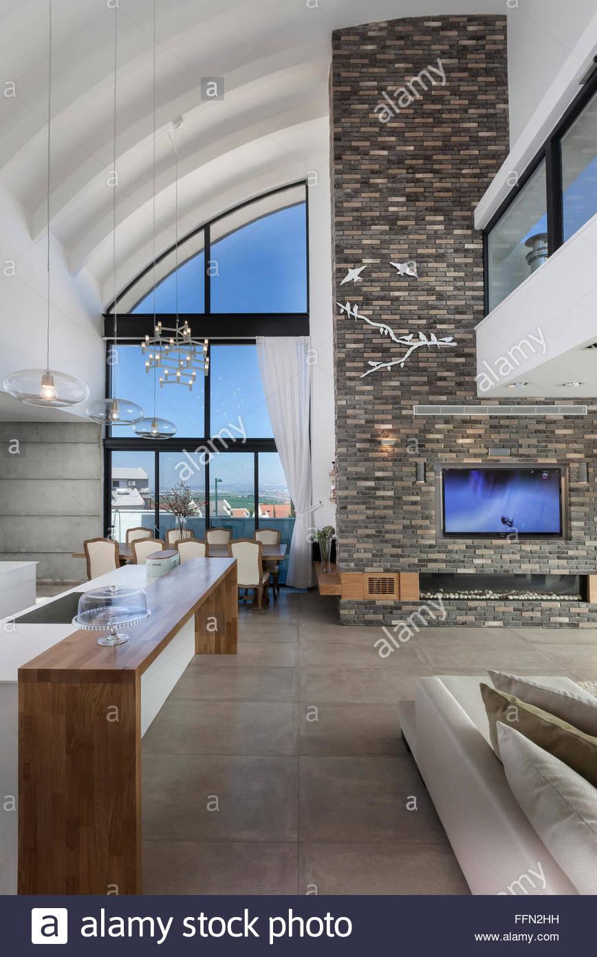 Moderne Villa in Gan Ner, Israel. Interior Design. Sitzecke mit ...