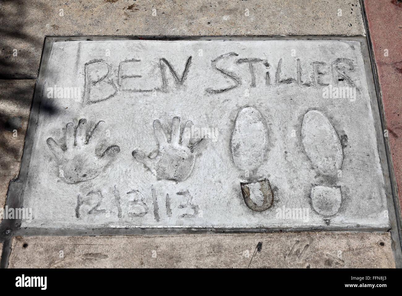 Stiller, Ben, * 30.11.1965, US-amerikanischer Schauspieler, Hand- und Schuh Drucke, Grauman's Chinese Theater, Stockbild