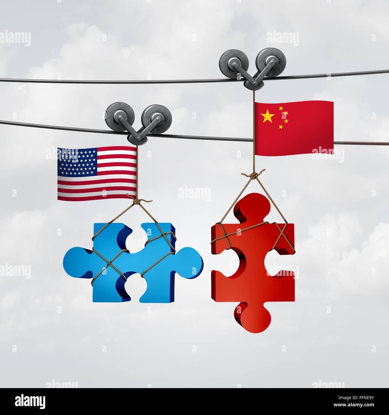Amerikanische und chinesische Zusammenarbeit Erfolg als zwei Teile eines Jigsaw Puzzle Fron der Vereinigten Staaten Stockbild