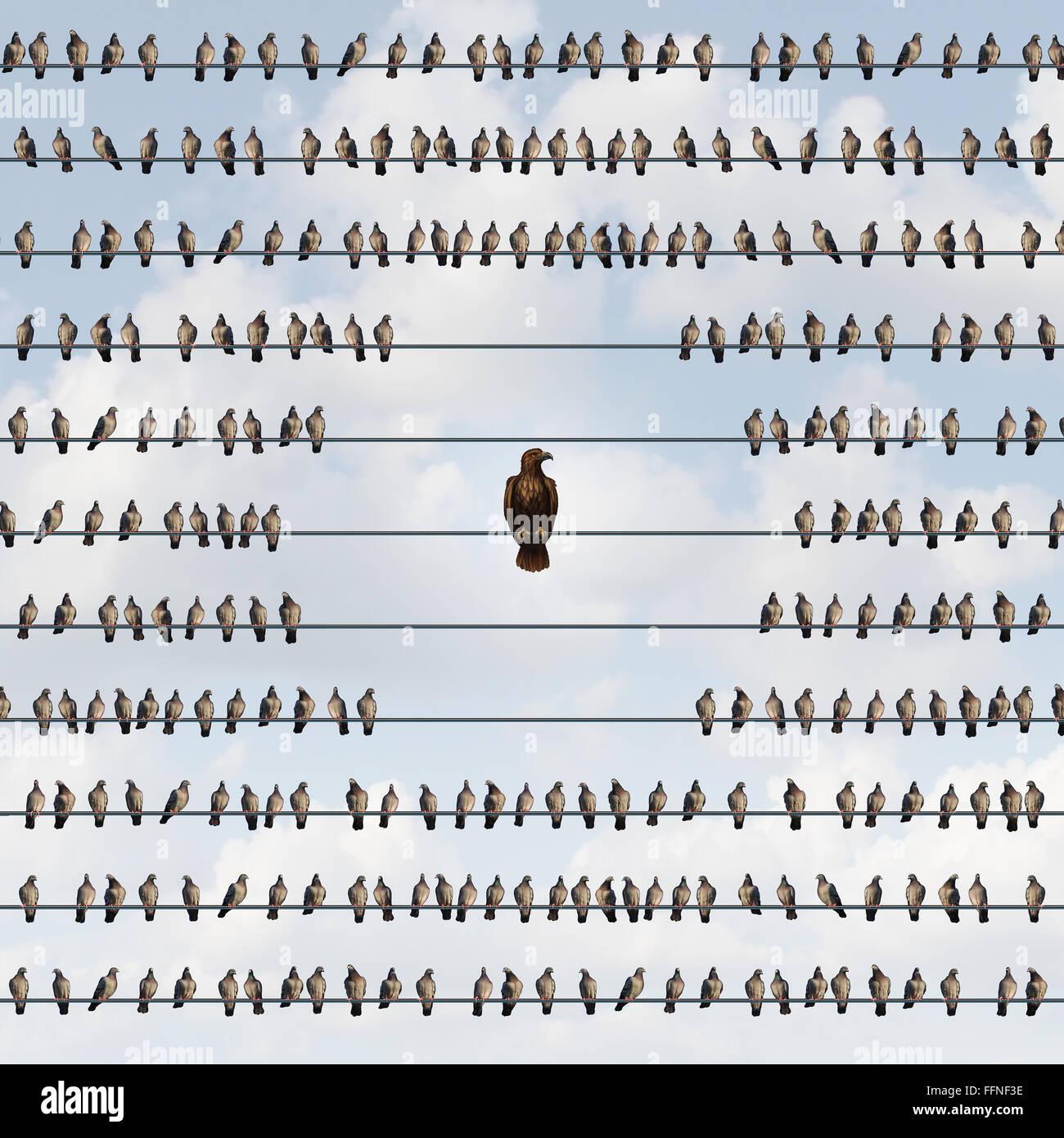 Risiko als ein Geschäftskonzept Vermeidung mit einer Gruppe der Vögel auf einem Draht Fernbleiben von Stockbild