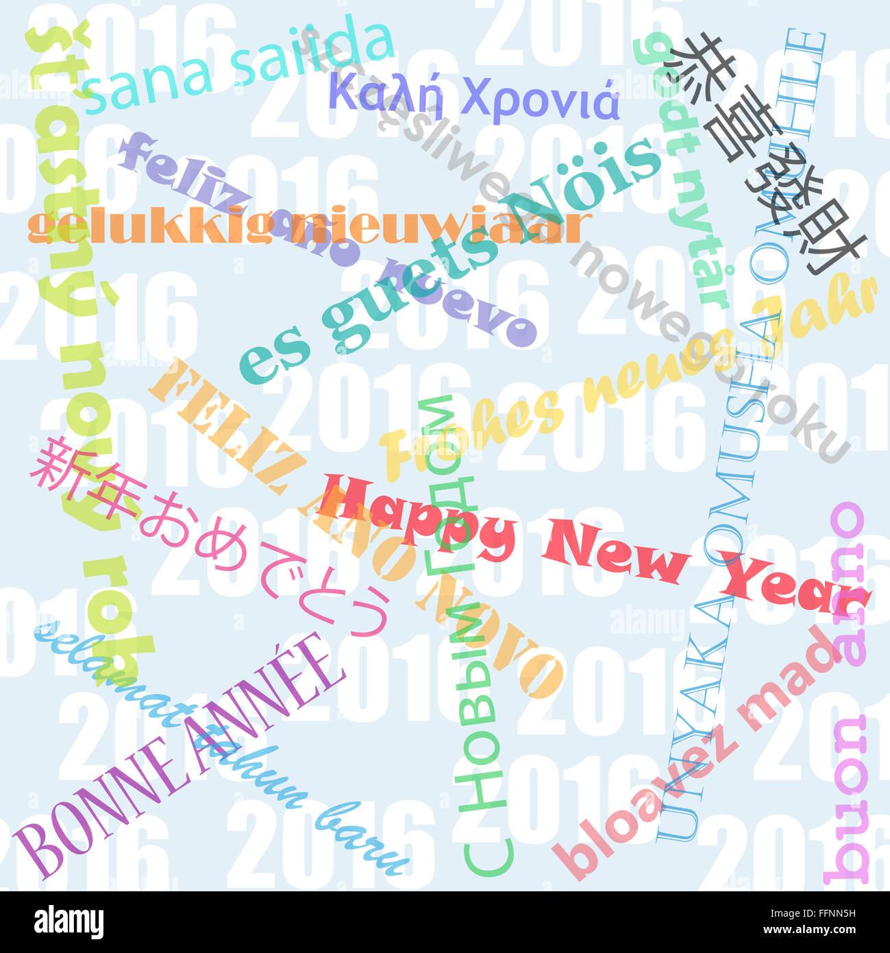 Frohes neues Jahr wünscht in mehreren Sprachen über 2016 Hintergrund ...