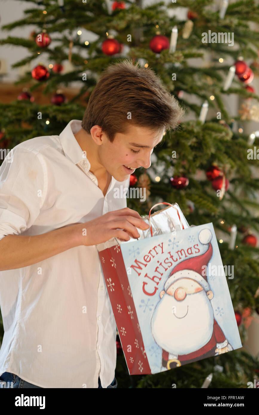 Teenager freut sich über sein Weihnachtsgeschenk, Deutschland Stockbild