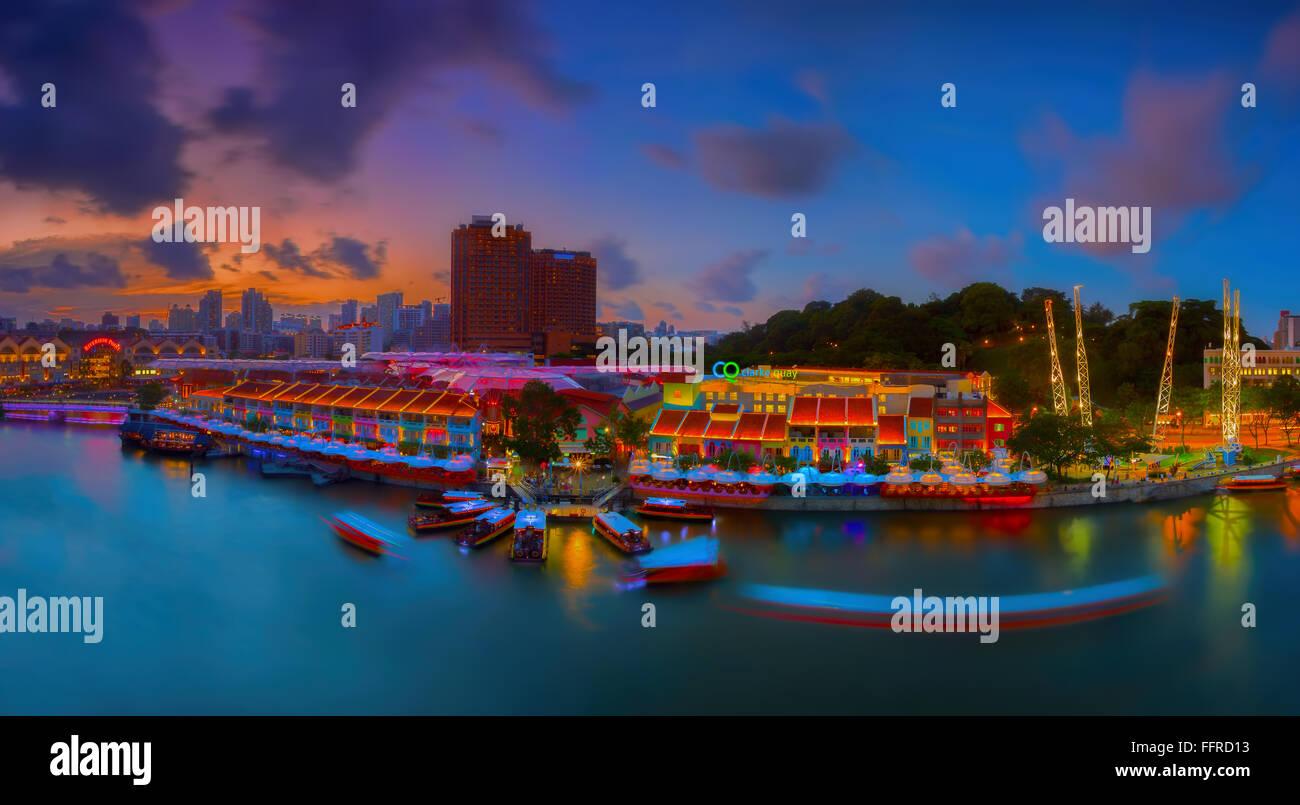 Clarke Quay Singapur Stockbild