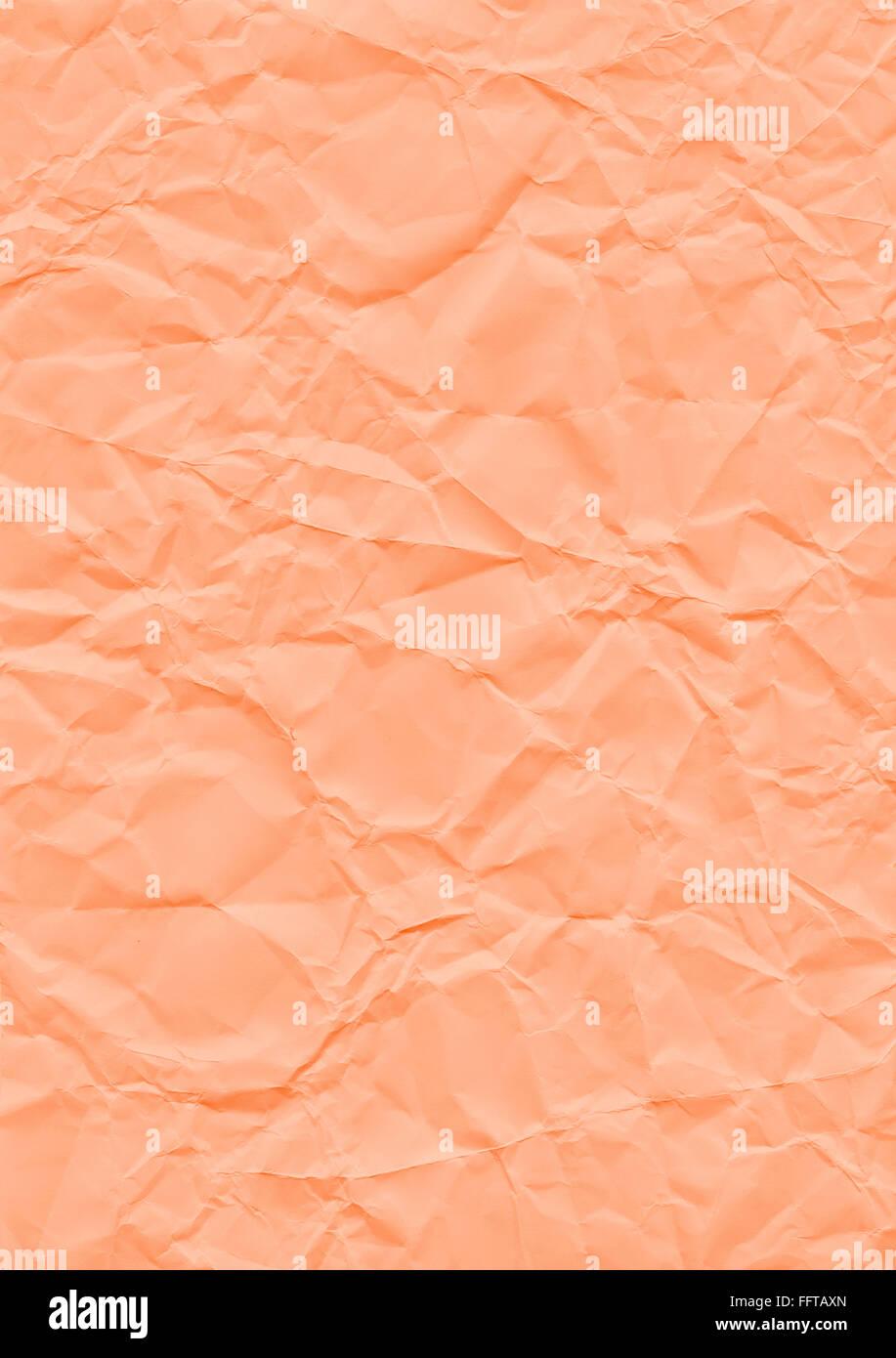 Strickerin Hintergrund orange Papier Geknickt Knicke Knicken Zerknittert Knautsch Zerknautscht kaputt Gefaltet Falten Stockbild