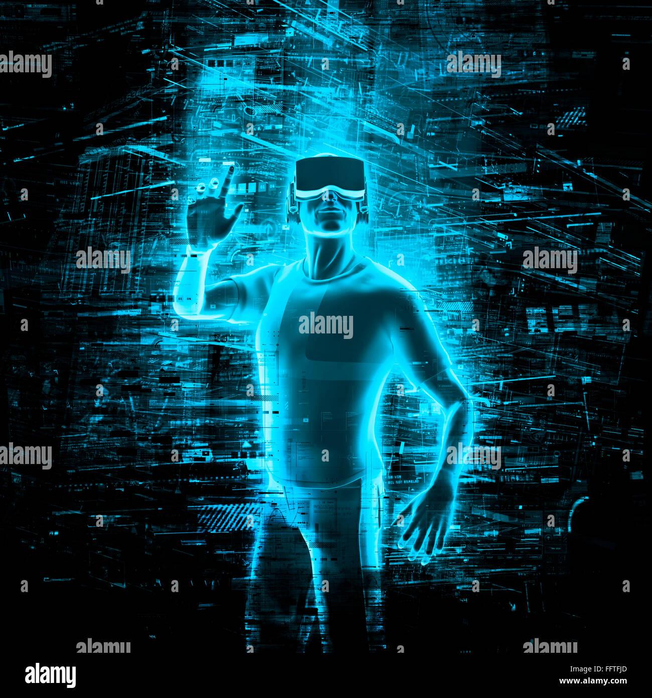 Virtual-Reality-Benutzer / 3D Render des Menschen tragen virtual ...