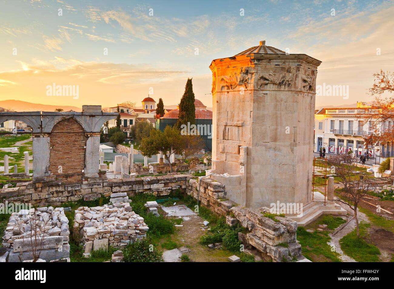 Reste der römischen Agora und Turm der Winde in Athen. Stockbild
