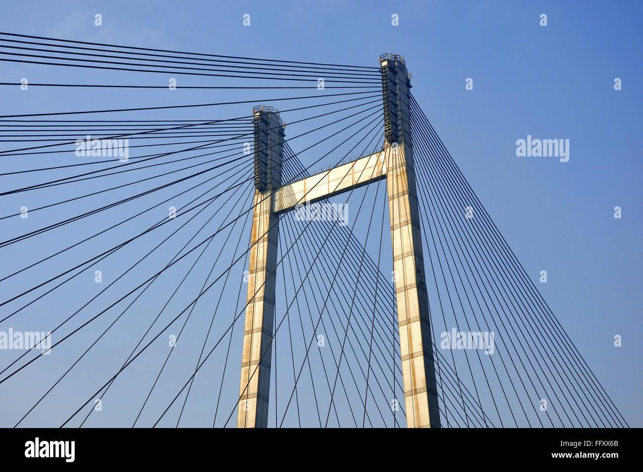 Muster der zweiten Howrah Brücke in Kolkata Indien Stockbild